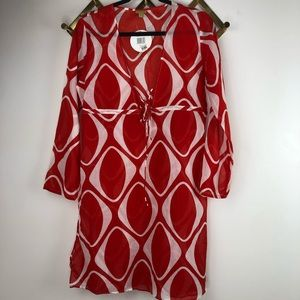 Echo Red and White Swim Suit Coverup 100% Cotton